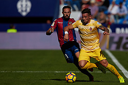 November 5, 2017 - Valencia, Valencia, Spain - Adam Benitez (R) of Girona FC competes for the ball with Morales of Levante UD during the La Liga match between Levante UD and Girona FC at Ciutat de Valencia stadium on November 5, 2017 in Valencia, Spain  (Credit Image: © David Aliaga/NurPhoto via ZUMA Press)