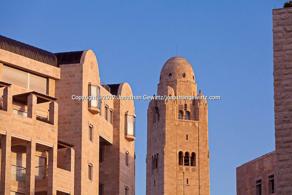 The YMCA tower and residential apartment or condominium buildings in the area between Keren Hayesod and King David streets in downtown Jerusalem. WATERMARKS WILL NOT APPEAR ON PRINTS OR LICENSED IMAGES.