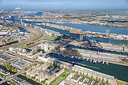 Nederland, Noord-Holland, Amsterdam, 09-04-2014; overzicht Zeeburg met Entrepothaven (voorgrond), Borneo Sporenburg, KNSM-eiland, Java-eiland (links). Voormalig Oostelijk havengebied.<br /> Former Eastern Docklands.<br /> luchtfoto (toeslag op standard tarieven);<br /> aerial photo (additional fee required);<br /> copyright foto/photo Siebe Swart