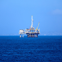 Photo of an offshore oil rig on the Pacific Ocean of the coast of Southern California.
