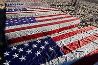 U.S. Flag Covered Coffins at Arlington West Memorial on Veteran's Day 2012, Santa Monica, California
