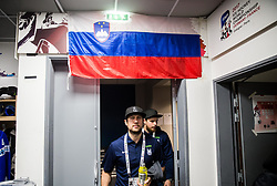 Mitja Robar of Slovenia and Luka Gracnar of Slovenia in Dressing room of Team Slovenia at the 2017 IIHF Men's World Championship, on May 11, 2017 in AccorHotels Arena in Paris, France. Photo by Vid Ponikvar / Sportida