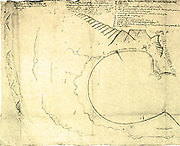 Map of Table bay, 1652.  The above is the first map of Dutch South Africa, sent home by Jan Van Riebeek.
