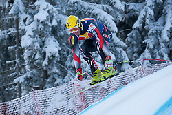 KITZBUHEL AUSTRIA. 22-01-2011. Ivica Kostelic (CRO) speeds down the course competing in the 71st Hahnenkamm downhill race part of  Audi FIS World Cup races in Kitzbuhel Austria.  Mandatory credit: Mitchell Gunn