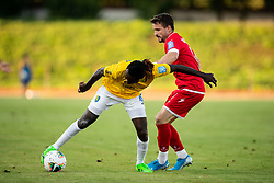 Ibrahim Arafat Mensah of Bravo vs Jure Matjašič of Aluminij during football match between NK Bravo and NK Aluminij in 5th Round of Prva liga Telekom Slovenije 2019/20, on August 9, 2019 in Sports park ZAK, Ljubljana, Slovenia. Photo by Vid Ponikvar / Sportida