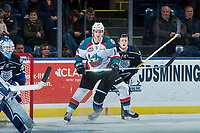 KELOWNA, CANADA - DECEMBER 30: Wil Kushniryk #14 of the Kelowna Rockets looks for the pass during first period against the Victoria Royals on December 30, 2017 at Prospera Place in Kelowna, British Columbia, Canada.  (Photo by Marissa Baecker/Shoot the Breeze)  *** Local Caption ***