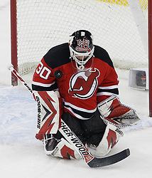 Jan 22, 2010; Newark, NJ, USA; New Jersey Devils goalie Martin Brodeur (30) makes a save during the first period at the Prudential Center.
