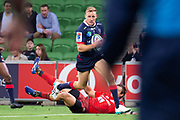 MELBOURNE, AUSTRALIA - APRIL 06: Reece Hodge of the Rebels runs the ball at round 8 of The Super Rugby match between Melbourne Rebels and Sunwolves on April 06, 2019 at AAMI Park in VIC, Australia. (Photo by Speed Media/Icon Sportswire)
