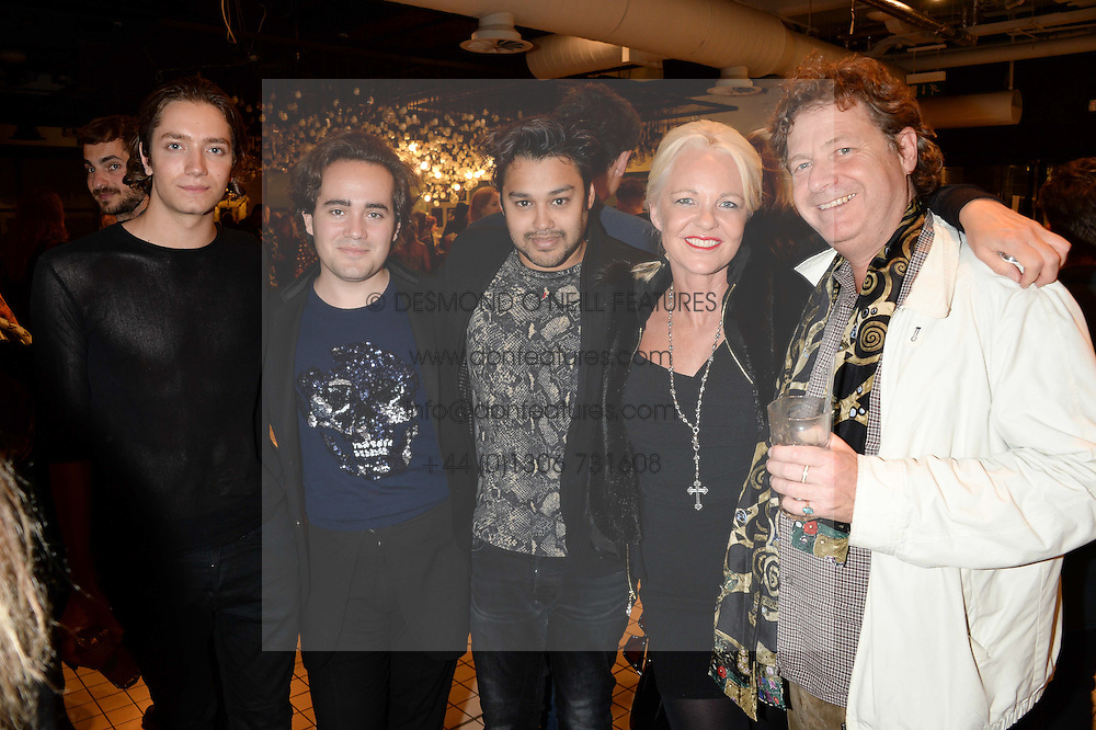 Left to right, TOMAS AUKSAS, PABLO GANGULI, CHARLIE ELIASCH, his mother AMANDA ELIASCH and DANNY MOYNIHAN at the Mother Of Pearl, Polly Morgan & Sunday Times Style Hosted London Fashion Week Pop-Up Shop at The Shop at Bluebird, Kings Road, London on 12th September 2013.