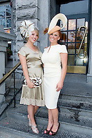 02/08/2012.  Aisling Baker (Westmeath) and Anna de Paor (Galway).at the Best Dressed Competition at Hotel Meyrick on Ladies Day of the Galway Races, sponsored by Brown Thomas Galway, hosted by RTE's  Republic of Telly Star Jennifer Maguire. Photo:Andrew Downes..