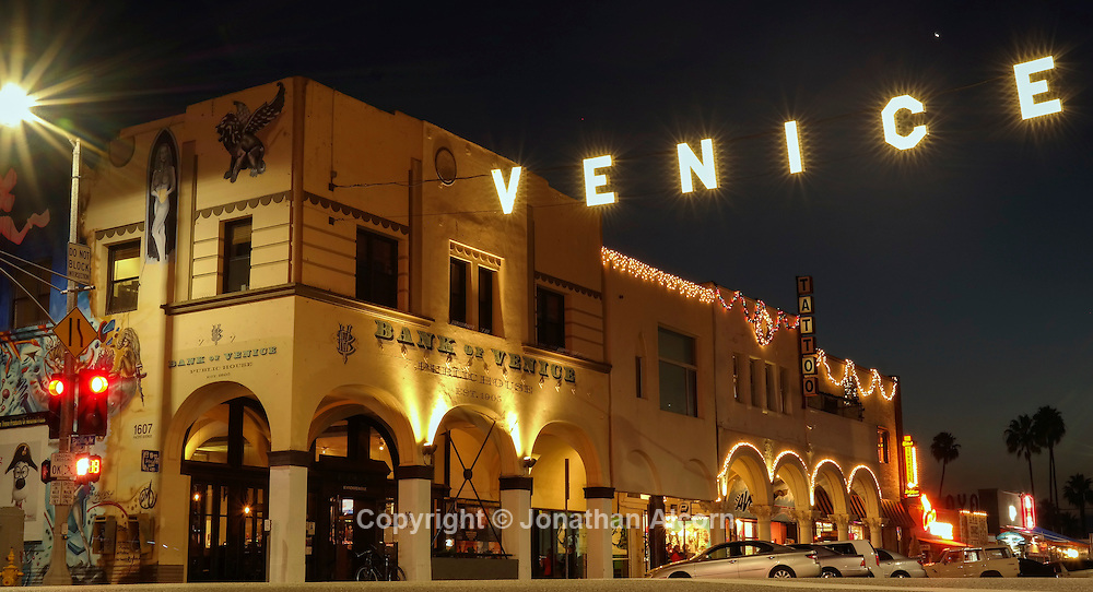 A replica of the original Venice sign stands at the intersection of Windward and Pacific in Venice Beach. The original sign was put in place in the early 1900's when Abbot Kinney founded Venice.