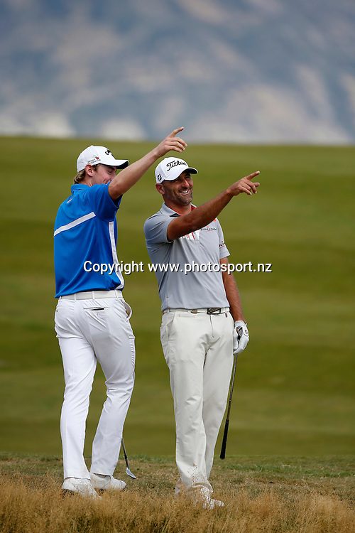 Michael Hendry of New Zealand and Todd Sinnott of Australia during round three of the 2016 BMW ISPS Handa New Zealand Open, The Hills, Arrowtown, New Zealand.12 March 2016. Photo by Michael Thomas/www.photosport.nz