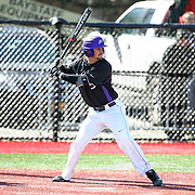 Anthony Firenzi #5 of the Niagara Purple Eagles looks for the pitch during the game at Friedman Diamond on March 16, 2014 in Brookline, Massachusetts. (Photo by Elan Kawesch)