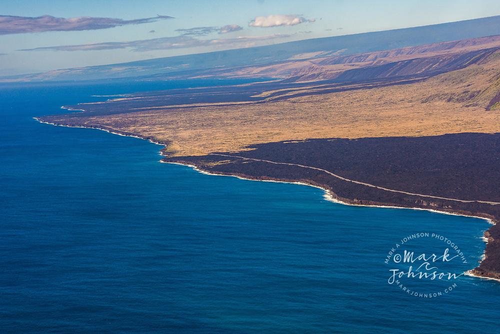 Aerial photo of the coastline, Hawaii Volcanoes National Park, Big Island, Hawaii