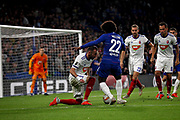 Chelsea FC forward Willian (22) surging into the box during the Europa League match between Chelsea and MOL Vidi at Stamford Bridge, London, England on 4 October 2018.