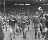 Roger Hunt (centre), Tommy Lawrence (left) & Gerry Byrne (right) - Liverpool. , Liverpool v Leeds United, FA Cup Final 1/5/65. Credit: Colorsport.