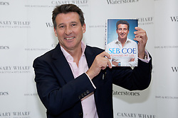 © Licensed to London News Pictures. 28/11/2012. London, UK. Lord Sebastian Coe attends a book signing event for his new autobiography, 'Running my Life' at Canary Wharf in London on 28th November 2012. The story gives an insight into how Lord Coe secured London's winning bid for the London 2012 Olympic Games and his sporting passion that led to him breaking twelve world records. Photo credit : Vickie Flores/LNP.