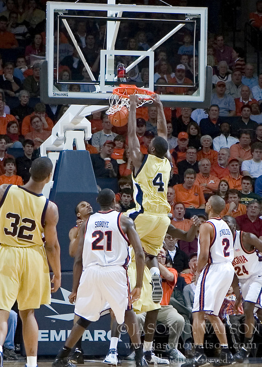 Georgia Tech Yellow Jackets Forward/Center Ra'Sean Dickey (4) dunks against UVA.  The Virginia Cavaliers Men's Basketball Team defeated the Georgia Tech Yellow Jackets 75-69 at the John Paul Jones Arena in Charlottesville, VA on February 24, 2007.