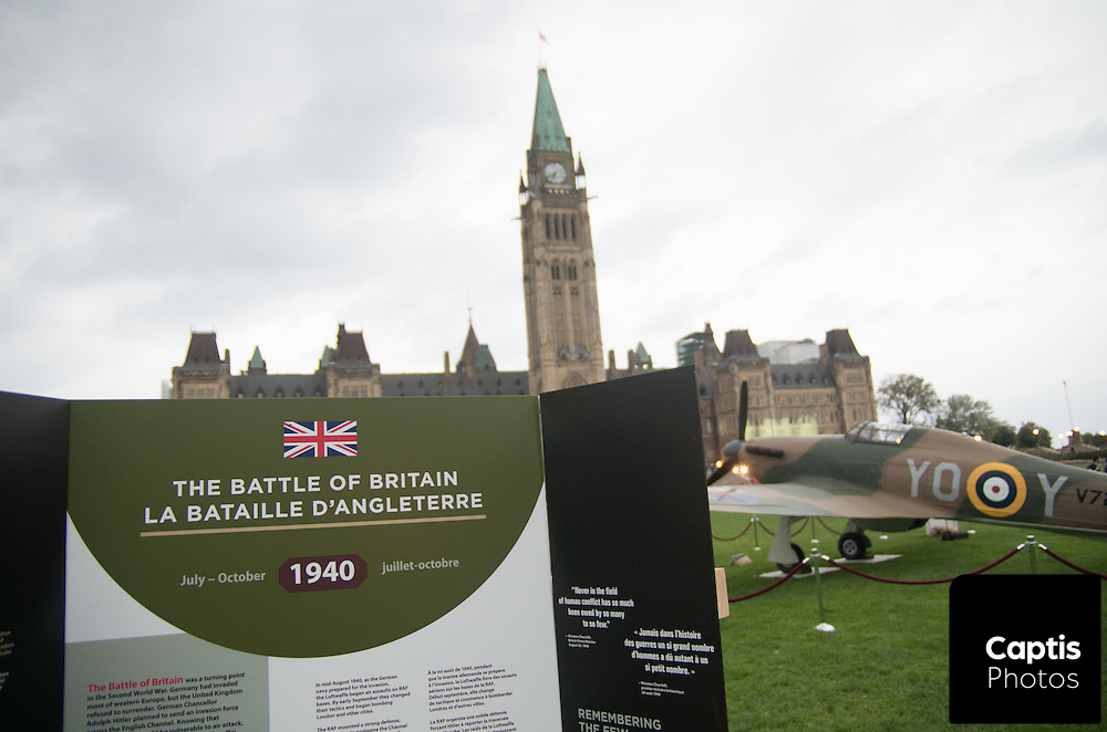 A Supermarine Spitfire and Hawker Hurricane are on of Parliament Hill as part of the commemoration ceremony for the 75th anniversary of the Battle of Britain. September 19, 2015. Captis Photos/Brendan Montgomery