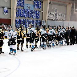 LINDSAY, ON - Mar 8 : Ontario Junior Hockey League, Playoff Series Action, 1st round game between; Lindsay Muskies and the Aurora Tigers, Lindsay Muskie's Hockey Club and Aurora Tiger's Hockey Club end of series hand shakes..(Photo by Andy Corneau / OJHL Images)