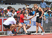Kevin Mayer (FRA) shakes hands with coach Bertrand Valcin during the decathlon at the DecaStar meeting, Saturday, June 23, 2019, in Talence, France. (Jiro Mochizuki/Image of Sport)
