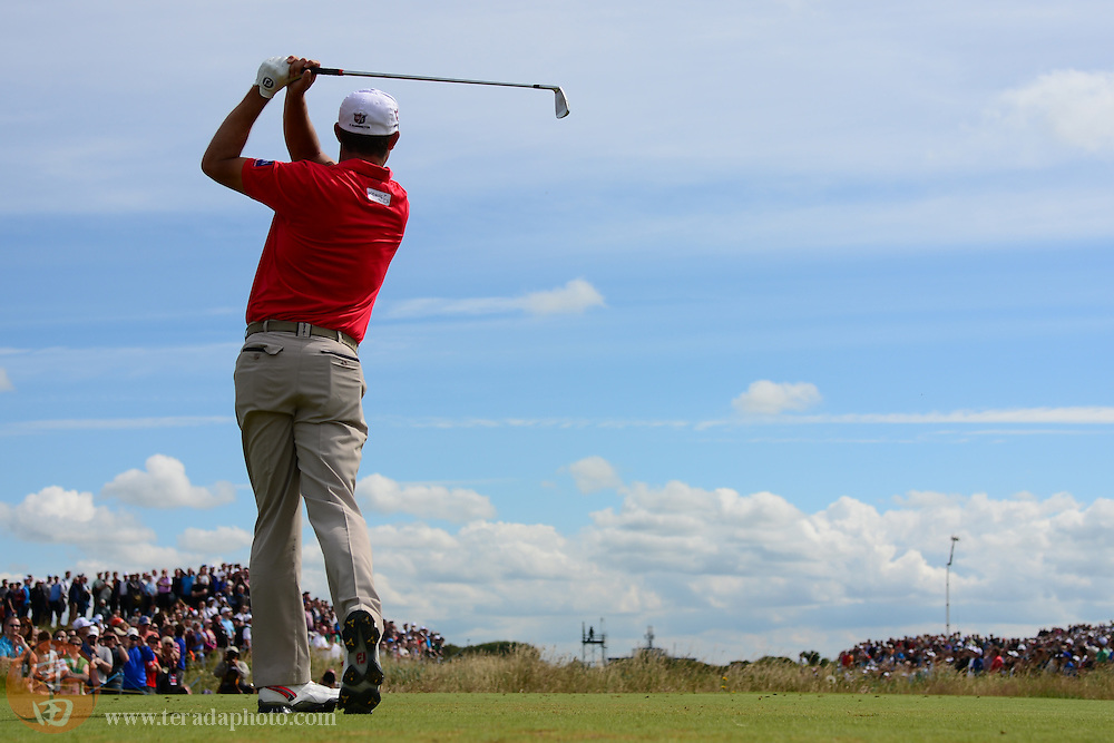 July 21, 2012; St. Annes, ENGLAND; Padraig Harrington tees off on the 5th hole during the third round of the 2012 British Open Championship at Royal Lytham & St. Annes Golf Club.