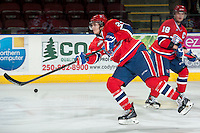 KELOWNA, CANADA - MARCH 5: Cole Wedman #24 of the Spokane Chiefs takes a shot during warm up against the Kelowna Rockets on March 5, 2014 at Prospera Place in Kelowna, British Columbia, Canada.   (Photo by Marissa Baecker/Getty Images)  *** Local Caption *** Cole Wedman;