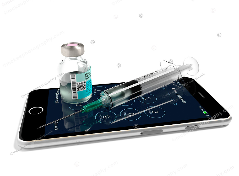 iPhone with vaccination syringe and vaccine bottle