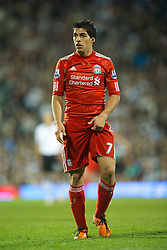 LONDON, ENGLAND - Monday, May 9, 2011: Liverpool's Luis Alberto Suarez Diaz in action against Fulham during the Premiership match at Craven Cottage. (Photo by David Rawcliffe/Propaganda)