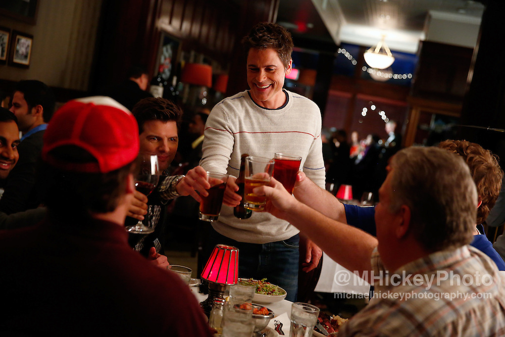 Rob Lowe and cast of Parks and Recreation during filming in Indianapolis, IN Michael Hickey, Getty Images for NBC