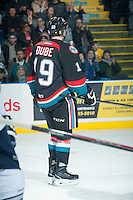 KELOWNA, CANADA - DECEMBER 3: Dillon Dube #19 of Kelowna Rockets stands on the ice after scoring his first WHL goal against the Saskatoon Blades  on December 3, 2014 at Prospera Place in Kelowna, British Columbia, Canada.  (Photo by Marissa Baecker/Shoot the Breeze)  *** Local Caption *** Dillon Dube;