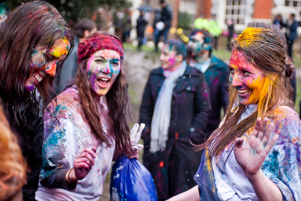 London, UK - 23 March 2013: girls dance during the Holi Spring Festival of Colour takes place at Orleans House Gallery in Twickenham. The annual event marks the end of Winter and welcomes the joy of spring.