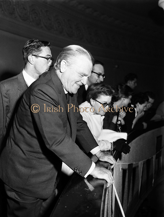 Jimmy Cagney at Gael Linn Ceili.26/10/1958..James Francis Cagney, Jr. (July 17, 1899 - March 30, 1986) was an American actor, first on stage, then in film, where he had his greatest impact. Although he won acclaim and major awards for a wide variety of performances, he is best remembered for playing tough guys. In 1999, the American Film Institute ranked him eighth among its 50 Greatest American Screen Legends.