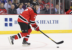 Mar 6; Newark, NJ, USA; New Jersey Devils defenseman Marek Zidlicky (2) skates with the puck during the first period of their game against the New York Rangers at the Prudential Center.