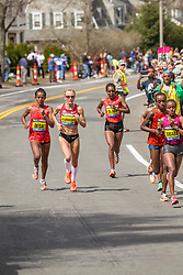 2014 Boston Marathon: lead pack of elite women race near mile 17, Shalane Flanagan, Deba