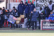 Forest Green Rovers manager, Mark Cooper during the EFL Sky Bet League 2 match between Accrington Stanley and Forest Green Rovers at the Wham Stadium, Accrington, England on 17 March 2018. Picture by Shane Healey.