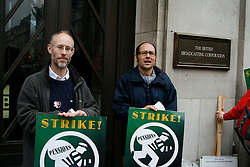 BBC Strike, NUJ Members picket Broadcasting House London