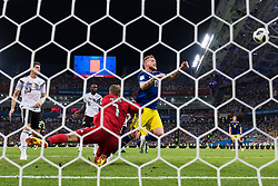 June 23, 2018 - Adler, Russia - Goalkeeper MANUEL NEUER of Germany stops a chance from JOHN GUIDETTI of Sweden during the FIFA World Cup group stage match between Germany and Sweden in Adler. Germany won the match 2-1. (Credit Image: © Joel Marklund/Bildbyran via ZUMA Press)
