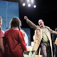Nederland, Amsterdam , 4 mei 2014.<br /> kinderopera Theresienstadt| in het Compagnietheater aan de Kloveniersburgwal.<br /> De kinderopera Brundib&aacute;r ging in 1943 in premi&egrave;re in Theresienstadt. Alle uitvoerende kinderen en musici, en ook de componist Hans Kr&aacute;sa, waren gevangen in het concentratiekamp; zij brachten Brundib&aacute;r in totaal 55 keer ten tonele. De opera werd door het nationaalsocialisme als propagandamiddel ingezet. Na de laatste voorstelling, waarbij de inspectie van Het Rode Kruis aanwezig was, werden de meeste uitvoerenden naar Auschwitz gebracht.<br /> In deze nieuwe productie van Brundib&aacute;r wordt de voorstelling in haar oorspronkelijke versie van 1943 uitgevoerd. Als inleiding op de relatief korte voorstelling zal een documentaire rondom de geschiedenis van Brundib&aacute;r te beleven zijn.<br />  E&eacute;n van de weinige overlevenden uit de oorspronkelijke cast, Ela Weissberger, zal aanwezig zijn bij beide voorstellingen op 4 mei. <br />  <br /> Brundib&aacute;r is a children's opera by Jewish Czech composer Hans Kr&aacute;sa with a libretto by Adolf Hoffmeister, originally performed by the children of Theresienstadt concentration camp in occupied Czechoslovakia (wikipedia). After the last performance, most performers were taken to Auschwitz. <br /> One of the few survivors from the original cast, Ela Weissberger, was present at a new production of the opera.
