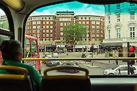 On the top deck of a London double decker bus - London, England, 2016