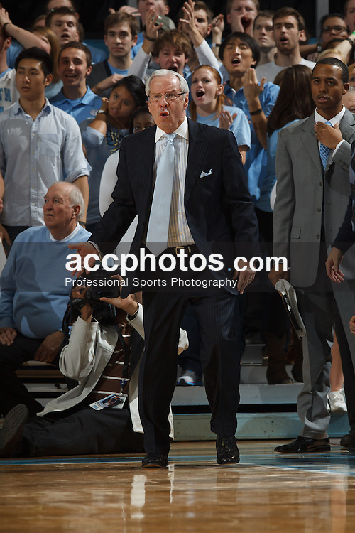 CHAPEL HILL, NC - DECEMBER 29: Head coach Roy Williams of the North Carolina Tar Heels coaches during a game against the UNLV Rebels on December 29, 2012 at the Dean E. Smith Center in Chapel Hill, North Carolina. North Carolina won 73-79. (Photo by Peyton Williams/UNC/Getty Images) *** Local Caption *** Roy Williams