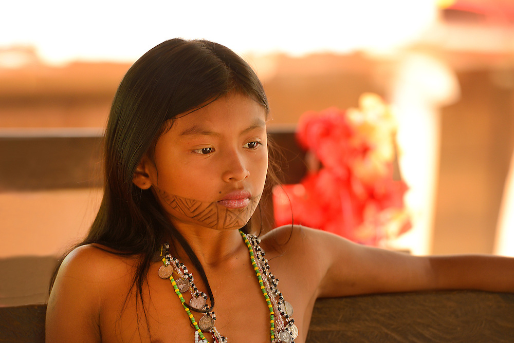 Indian girl,Embera Indian village near Panama City,Panama,Central America.