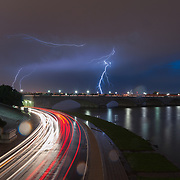 Lightning flashes over the Potomac River in Washington, D.C.