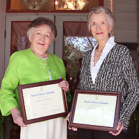 (Floyd Ingram / Buy at photos.chickasawjournal.com)<br /> Virginia Smith Thornton, on left, and Martha Elizabeth Smith were presented their 50-year plaques by the Chuquatonchee Chapter of the Daughters of the American Revolution at a recent meeting at Bridges-Hall Manor. Thornton and Smith have served DAR in a variety of posts and are part of more than 165,000 members in 3,000 chapters across the United States.