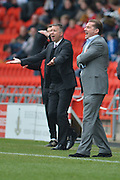 Graham Westley manager of Peterborough United and Darren Ferguson  during the Sky Bet League 1 match between Doncaster Rovers and Peterborough United at the Keepmoat Stadium, Doncaster, England on 19 March 2016. Photo by Ian Lyall.