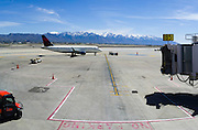 Scene from the Salt Lake City Airport, Salt Lake City, Utah, with the Wasatch Range in the background