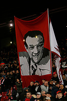 Football - 2019 / 2020 Premier League - Liverpool vs. Wolverhampton Wanderers<br /> <br /> Banner of legendary Liverpool manager Bob Paisley on the Kop before today's game, at Anfield.<br /> <br /> COLORSPORT/ALAN MARTIN
