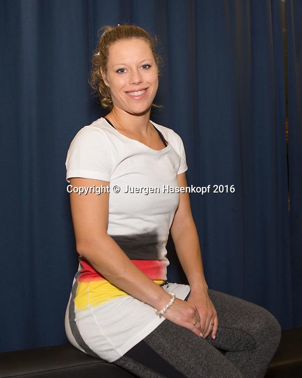 Ladies Linz Players Party, LAURA SIEGEMUND (GER)<br />  traegt ein Tshirt mit aufgespruehter Deutschland Fahne,<br /> <br /> Tennis - Ladies Linz Players Party - WTA -  TipsArena - Linz - Oberoesterreich - Oesterreich  - 10 October 2016. <br /> &copy; Juergen Hasenkopf