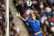 20 October 2012: Hope Solo (USA) watches a Germany shot sail wide of the goal. The United States Women's National Team played the Germany Women's National Team at Toyota Park in Bridgeview, Illinois in a women's international friendly soccer match. The game ended in a 1-1 tie.