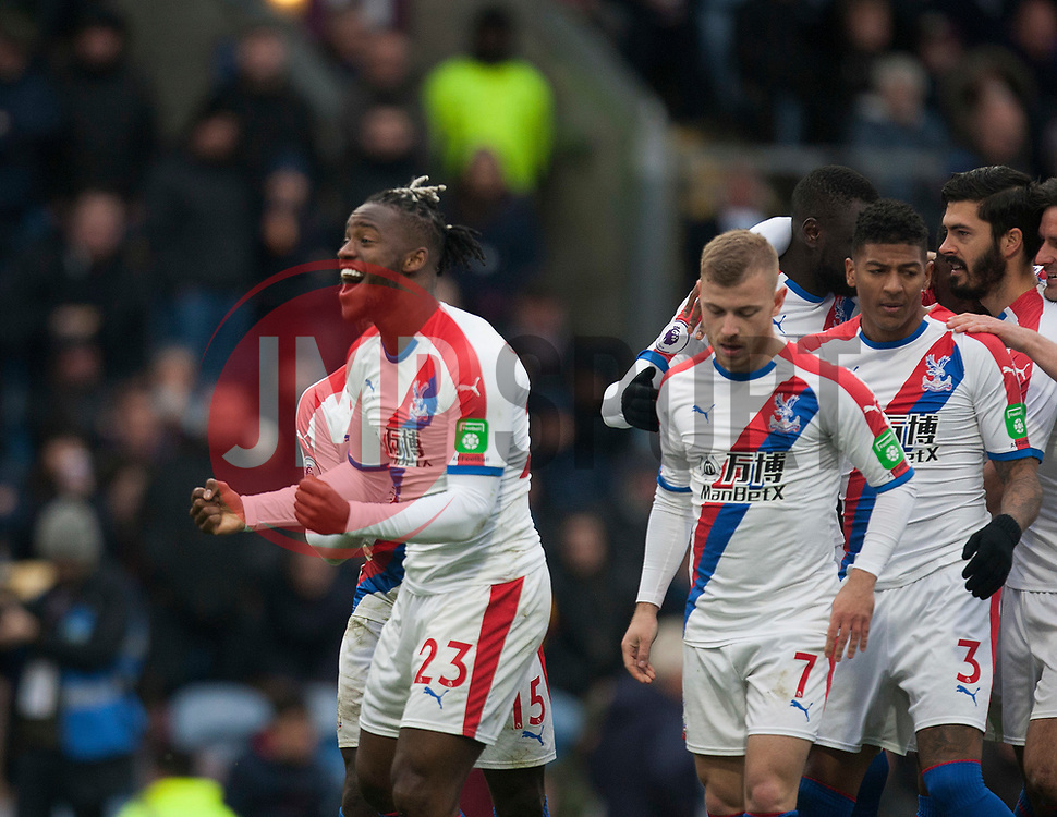 Michy Batshuayi of Crystal Palace (L) celebrates scoring his sides second goal - Mandatory by-line: Jack Phillips/JMP - 02/03/2019 - FOOTBALL - Turf Moor - Burnley, England - Burnley v Crystal Palace - English Premier League